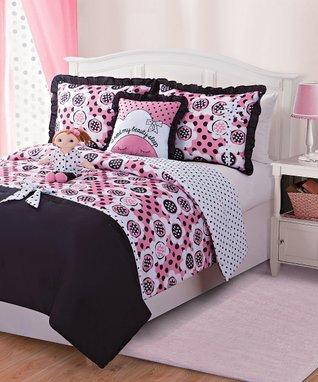 Black & Pink Lana Doll & Reversible Comforter Set