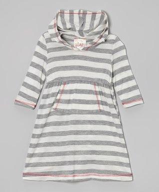 Gray & White Stripe Hooded Dress - Toddler