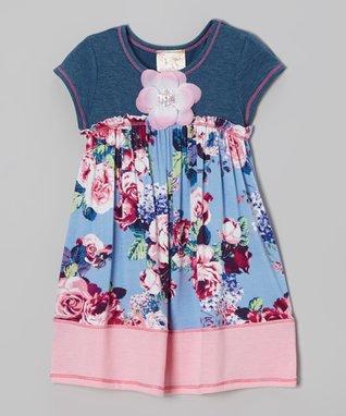 Blue & Pink Floral Denim Dress - Toddler & Girls