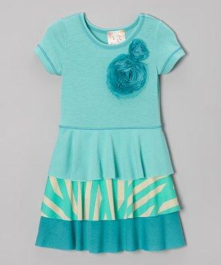 Aqua Rosette Tiered Dress - Toddler & Girls