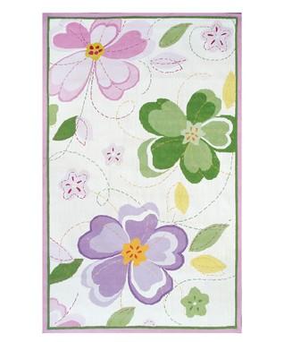 White & Pink Flower Stitch Rug