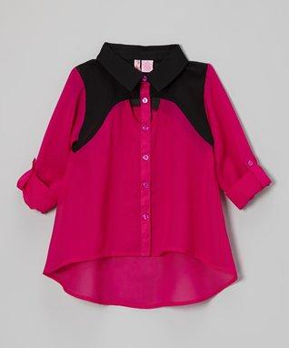 Apollo Fuchsia Cutout Button-Up - Girls