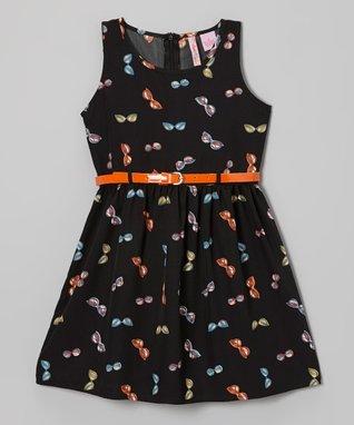 Apollo Black & Orange Sunglasses Dress - Girls