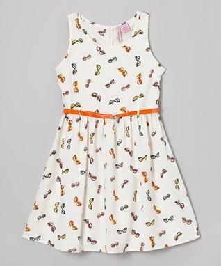 Apollo Ivory & Orange Sunglasses Dress - Girls