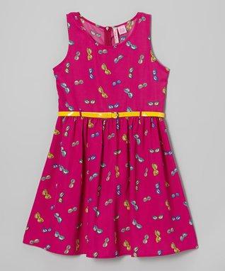 Apollo Fuchsia & Yellow Sunglasses Dress - Girls
