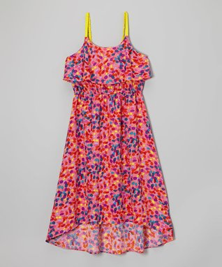 Apollo Fuchsia & Blue Jelly Bean Frill Dress - Girls