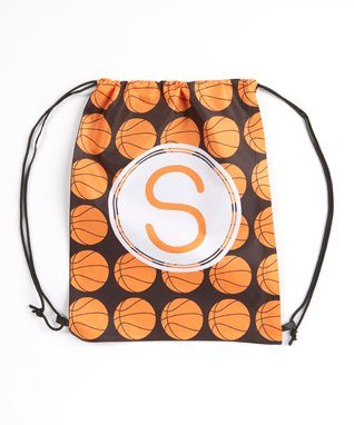 Orange Basketball Initial Drawstring Tote Bag