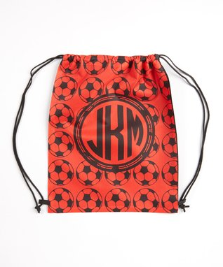 Red Monogram Soccer Drawstring Tote Bag