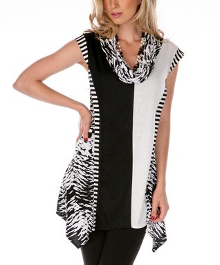 Black & White Cowl Neck Tunic