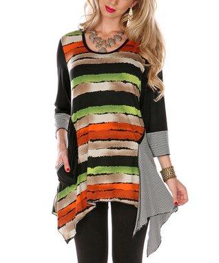 Orange & Black Stripe Top