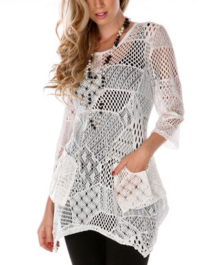 White Patchwork Knit Sidetail Tunic