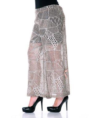 Mocha Patchwork Knit Sheer Palazzo Pants