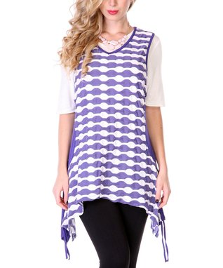 Lavender & White Scallop Sleeveless Sidetail Tunic