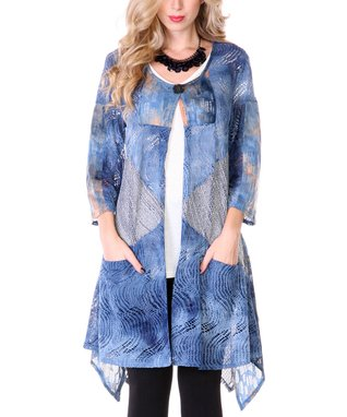 Blue & Gray Knit Patchwork Duster