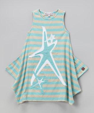 Beige & Aqua Nicki Dress - Toddler & Girls