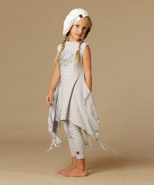 Silver & White Hanna Tunic - Toddler & Girls