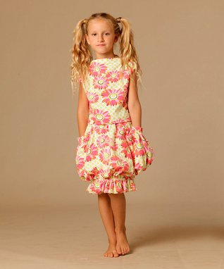 Coral Dandelion Tori Top & Bubble Skirt - Toddler & Girls