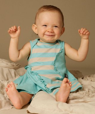 Beige & Aqua Mimosa Tunic & Leggings - Infant