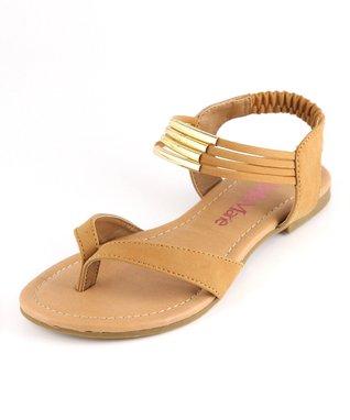 Black & Gold Ankle-Strap Sandal