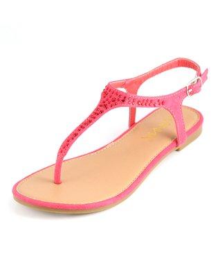 Coral Rhinestone Sandal