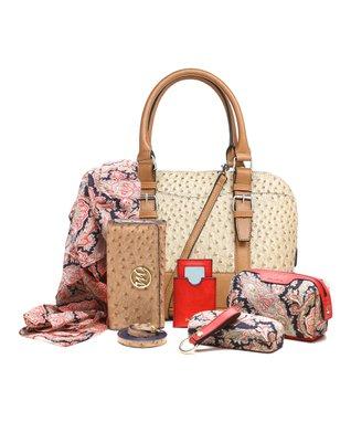 emilie m. Sand Ostrich Embossed Buckle Dome Jane Satchel & Essentials Kit