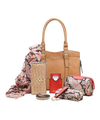 emilie m. Mink Ostrich Embossed Buckle Dome Jane Satchel & Essentials Kit