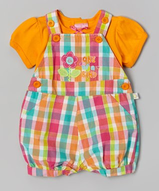 Duck Duck Goose Orange & Pink Plaid 'One of a Kind' Tee & Shortalls - Infant