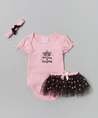Duck Duck Goose Pink & Black 'Princess' Bodysuit Set - Infant