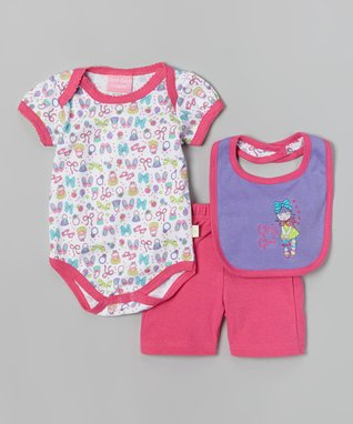 Duck Duck Goose Pink 'Cutie' Bodysuit Set - Infant