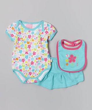 Duck Duck Goose White & Pink 'Wild Child' Romper & Bib - Infant