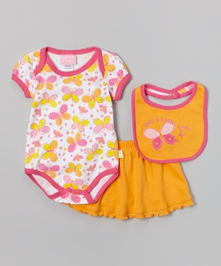 Duck Duck Goose Pink & Turquoise 'Sweet' Flower Bodysuit Set - Infant