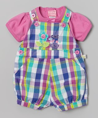 Duck Duck Goose Purple & Pink Plaid 'One of a Kind' Tee & Shortalls - Infant