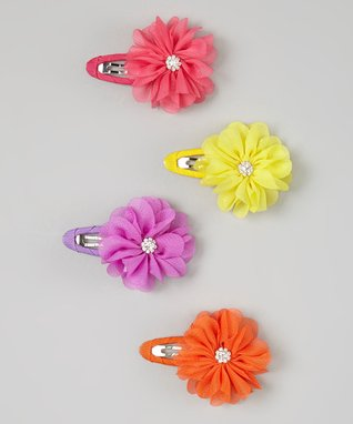 Yellow Sparkle Flower Snap Clip Set
