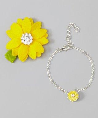 Yellow Rhinestone Flower Clip & Charm Bracelet