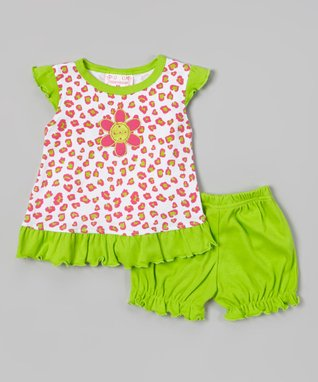 Teddy Boom Lime & Pink Leopard Ruffle Top & Bloomers - Infant