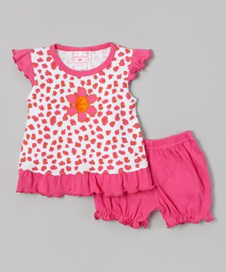 Teddy Boom Fuchsia Leopard Ruffle Top & Bloomers - Infant