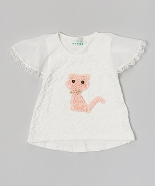White Lace Kitty Cap-Sleeve Top - Infant, Toddler & Girls