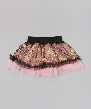 Pink & Gold Floral Skirt - Infant, Toddler & Girls