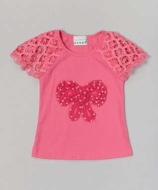 Red Floral Lace Rhinestone Shorts - Infant, Toddler & Girls