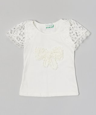 White Pearl Bow Lace Top - Infant, Toddler & Girls