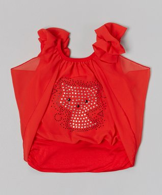 Red & Gold Bow Ruffle Top - Infant, Toddler & Girls