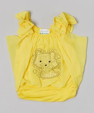 White Rosette Pearl Ruffle Yoke Dress - Toddler & Girls