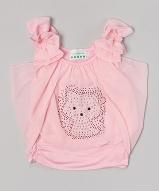 Black Lace Kitty Cap-Sleeve Top - Infant, Toddler & Girls