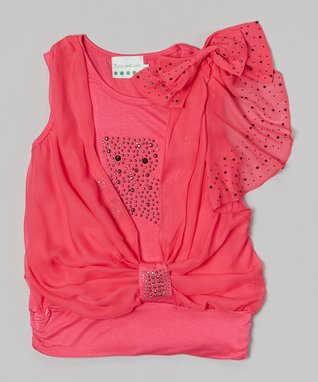 Hot Pink Pearl Bow Lace Top - Infant, Toddler & Girls