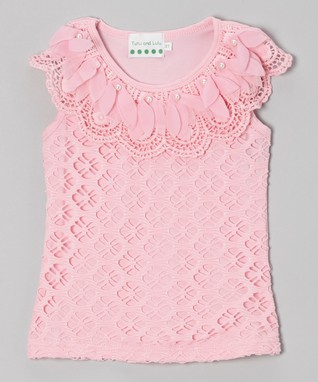 Pink Pearl Flower Lace Top - Infant, Toddler & Girls
