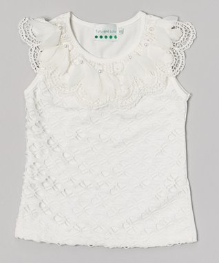 White Pearl Flower Lace Top - Infant, Toddler & Girls
