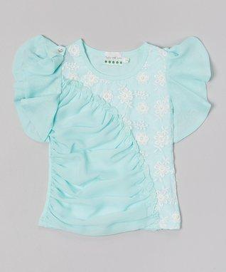 Turquoise Rhinestone Ruffle-Sleeve Top - Infant, Toddler & Girls