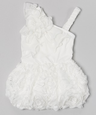 White Flower Ruffle Asymmetrical Dress - Infant & Toddler
