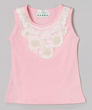 Pink Pearl Flower Tank - Infant, Toddler & Girls