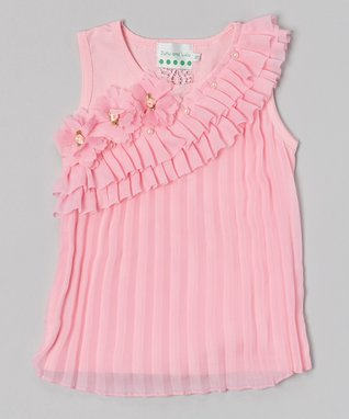 Pink Pearl Flower Pleated Tank - Infant, Toddler & Girls